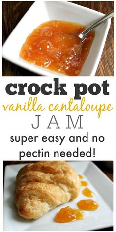 Make your own jam in the crock pot! This vanilla cantaloupe jam recipe is delicious as an appetizer with cream cheese on a cracker, or just on toast! and Drink crock pot cream cheeses Crock Pot Vanilla Cantaloupe Jam Cantaloupe Jam Recipes, Fruit Recipes, Cantaloupe Recipes Breakfast, Melon Recipes, Dessert Recipes, Radish Recipes, Brunch Recipes, Crock Pot Slow Cooker, Slow Cooker Recipes