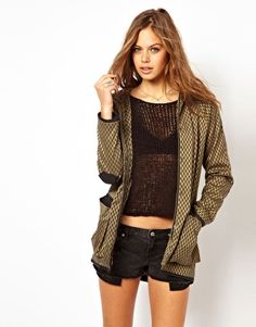 ASOS Jacquard Parka With Leather Look Hood
