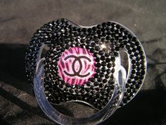 Rhinestoned Pacifier Chanel Blinky by BorntoBlingBoutique on Etsy, $35.00