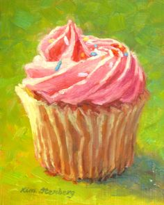 Pink Cupcake Delicious Food Painting Pastry Love Original Oil Still Life Contemporary Wall Art