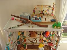 Make a birdie Play Gym using an upside down plastic shelving unit. Keeps everything in place!