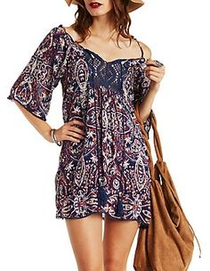 Paisley Border Print Shift Dress: Charlotte Russe