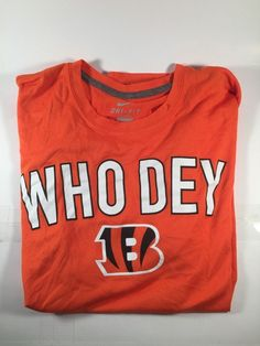"Nike Dri Fit ""Who Dey"" NFL Cincinnati Bangles Orange Short Sleeve Shirt Sz XL 