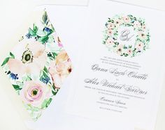 A floral wreath full of anemones, roses, peonies & greenery plus matching envelope liner...what more could you ask for?! @momental