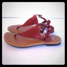 Gap deep red suede t strap sandals LAST CALL Gap deep red suede t strap sandals sz 7 GAP Shoes Sandals