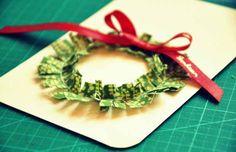 Bigliettini di Natale con stoffa e cartoncino