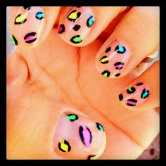 Easy neon leopard on clear nails!