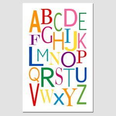 Modern Alphabet - 11 x 17 - Perfect for Nursery or Play Room - Multicolor in Pink, Purple, Red, Orange, Yellow, Green, Blue, Aqua. $28.00, via Etsy.