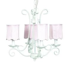 Price: $298.98 Jubilee 74502-2514 4 Light Harp Chandelier, White - Simplistic affordability. Scrolled iron mirrors the shape of a harp on this 4-arm chandelier. Perfect for a bedroom or even a bathroom.