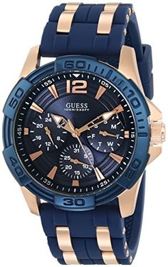 Men's Wrist Watches - GUESS Mens U0366G4 Sporty Rose GoldTone Stainless Steel Watch with Multifunction Dial and Blue Strap Buckle *** Be sure to check out this awesome product.
