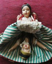 RARE 1930,S BEAUTIFULLY HAND PAINTED CLOTH BOUDOIR/TOPSY/TURVY DOLL