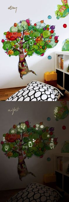Wall stickers for children's rooms. An extremely creative. They have glowing in the night elements. http://www.bobom.pl/category-lesny-ul