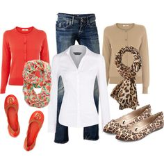 A fashion look from March 2014 featuring Dorothy Perkins blouses, Oasis cardigans and Tory Burch flats. Browse and shop related looks.