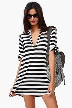 A great basic dress that has black and white stripes throughout.  So comfy and cute!