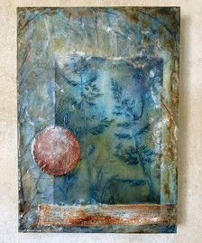 I started with a board that I covered with my hand dyed tissue paper. I added interest to that with oil pastels. A photograph that I had printed onto fabric was added along with other elements. Then I added more layers of encaustic and shiva paint stick. This measures 10 wide by 14 tall and 1 1/2 inches deep.