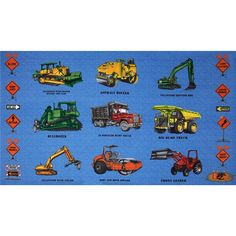 """Detour Ahead Bulldozers 24"""" Panel  Blue from @fabricdotcom  Designed by Eugene Warren Smith for Clothworks, this cotton print fabric panel measures approximately 24"""" x 44"""". Colors include red, green, yellow, orange, grey and blue."""