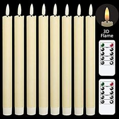 Amazon.com: GenSwin Flameless Flickering Taper Candles with 2 Remote Controls and Timer, Real Wax 3D Wick Light Window Candles Battery Operated Pack of 8, Christmas Home Wedding Decor(Ivory, 0.78 X 9.64 Inch): Home & Kitchen