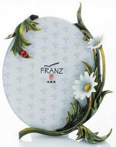Franz Plated & Painted Pewter Sculptured Porcelain Ladybug Photo Frame