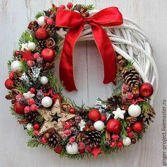 """Купить Оригинальный подарок на Новый Год. Рождественский венок """"Бело-красный"""" - новогодний подарок"""