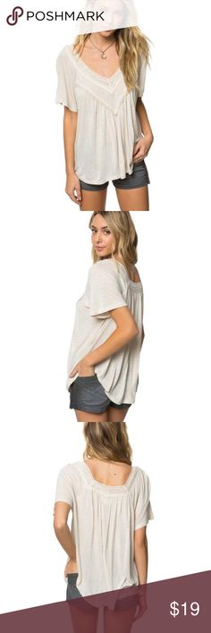 "O'Neill Kolleen Flutter Sleeve Top Tank naked worn few times.has a small hole on the front under v neck.see pictures      O'Neill women's knit top     24 1/2"" in length     V-neckline     Crochet and pompom trim detail     Flowy silhouette     100% Viscose gh21 O'Neill Tops Tees - Short Sleeve"