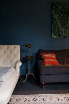 Fantastic shade of blue and love the copper lamp!  DesignSponge Sneak Peek