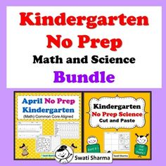 Kindergarten No Prep Math and Science Bundle - Kindergarten Cut And Paste Worksheets, Number Worksheets, Printable Worksheets, Addition Words, Kindergarten Prep, Classroom Displays, Word Problems, Science Activities, Prepping