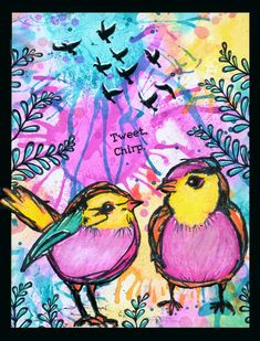 I used the Scribbly Birds of Dina Wakley on a glossy background with splashed colors,   the branches and flying doves are from RynDesign  If...