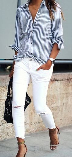 Stitch Fix Stylist: I have great white pants, I need the shirt to complete this look & work into others :)