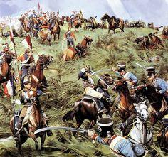 La escena muestra una de las confusas luchas de caballería en Waterloo, tras una carga se entremezclan las unidades, los lanceros y coraceros franceses han tomado una batería británica, y mientras se reagrupan son contraatacados por dragones ligeros británicos. Más en www.elgrancapitan.org/foro