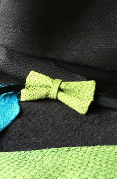 Check out our bow ties selection for the very best in unique or custom, handmade pieces from our shops. Leather Bow, Green Leather, Green Bow Tie, Tie Styles, Exotic Fish, Fish Art, Leather Design, Bright Green, Bow Ties