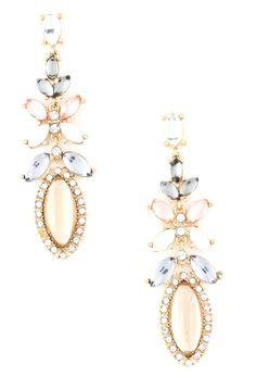 Acrylic Flower Stone Dangle Earrings - Topaz $10.00