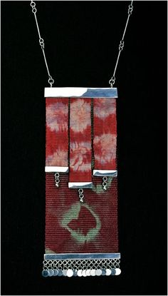 Marta Morrison Textile Jewelry, Fabric Jewelry, Metal Jewelry, Jewelry Crafts, Jewelry Art, Handmade Jewelry, Tapestry Weaving, Bead Weaving, Textiles