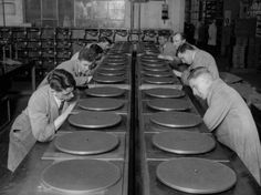 Record turntables in production. May 1930