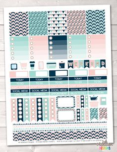 Nautical Printable Planner Stickers PDF Instant Download Weekly Graphics