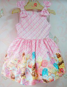 Vestido Infantil Sorvetes Mon Sucré Frock Design, Baby Dress Design, Toddler Girl Outfits, Kids Outfits, Cute Dresses, Girls Dresses, Estilo Kylie Jenner, Baby Boutique Clothing, Kids Frocks
