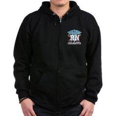 Cafepress Personalized RN Design Zip Hoodie, Size: XL, Black
