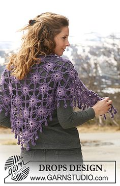 "Ravelry: 117-35 Crochet Shawl in ""Merino Extra Fine"" and ""Classic Alpaca"" pattern by DROPS design http://www.ravelry.com/patterns/library/117-35-crochet-shawl-in-merino-extra-fine-and-classic-alpaca#"