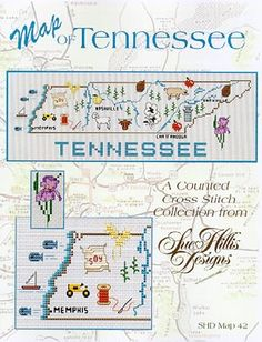 Tennessee Map: A Cross Stitch Chart by Sue Hillis Designs Cross Stitch Fabric, Cross Stitch Love, Cross Stitch Designs, Cross Stitching, Cross Stitch Embroidery, Cross Stitch Patterns, Tennessee Map, State Crafts, Crochet Humor