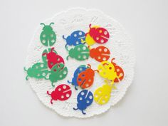 "Bright Color Ladybug Confetti Die Cuts 1"" Scrapbooking Embellishments Party Decoration 85 Color Choice on Etsy, $2.95"