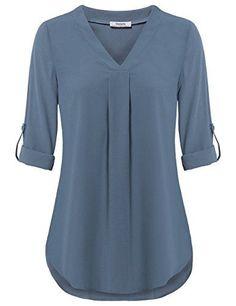 Youtalia Womens Cuffed Sleeve Chiffon Printed V Neck Casual Blouse Shirt Tops Womens Chiffon Tops,Youtalia Womens Business Casual Blous…