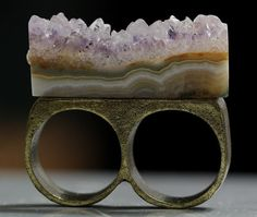 Amethyst Druzy Slice Two Finger Connector Ring by crystalelements1