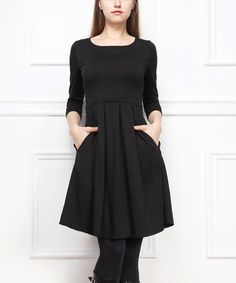 Look what I found on #zulily! Black Pleated Three-Quarter Sleeve Dress #zulilyfinds