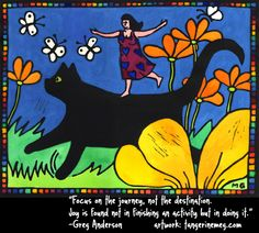 """""""Focus on the journey, not the destination. Joy is found not in finishing an activity but in doing it."""" Greg Anderson. Artwork: """"Joy Riding"""" by Tangerine Meg (hand watercoloured limited edition lino print)"""