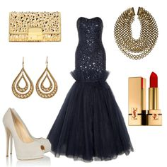 A vision of navy loveliness with gold accents in this entry for the New Year's Eve Ball fashion challenge