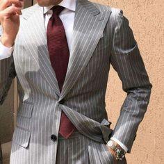 Gray pinstripe suit for men #menswear #mensfashion