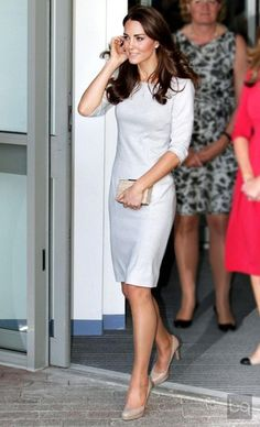 Kate Middleton LK Bennett shoes and clutch, gorgeous form-fitting grey dress.