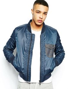 ASOS Evisu Genes Bomber Jacket Denim Pocket
