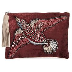 Women's Sam Edelman Carol Velvet Clutch ($98) ❤ liked on Polyvore featuring bags, handbags, clutches, port wine, sam edelman, zipper purse, tassel purse, vintage style handbags and zip purse