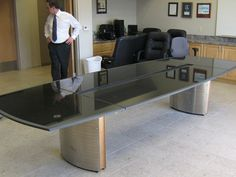 Black Galaxy Granite Conference Table With Chrome Aluminum Bases - Granite conference table