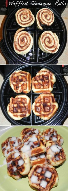 Cinnamon Roll Waffles-did this for brunch and it was amazing! After I took them off the waffle iron I put apple pie filling on top. Warmed up the icing and drizzled on top. Cut into 4 sections and served them! Loved them!